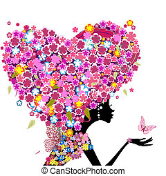 Una chica con flores en la cabeza en forma de corazón
