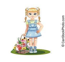 Una chica con flores