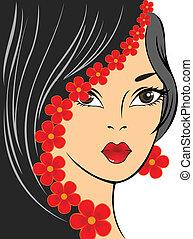 Una chica con flores rojas