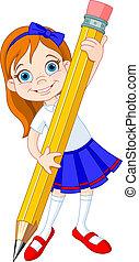 Una chica con lápiz