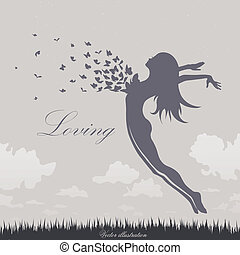 Una chica con mariposas en un salto