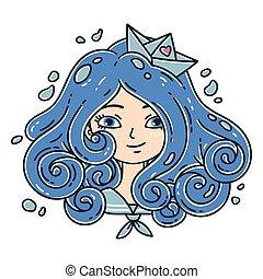 Una chica con pelo rizado. Chica marina. Una chica de pelo azul. Barco de papel. Objetos aislados de fondo blanco. Ilustración de vectores.