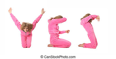 Una chica con ropa rosa haciendo palabras sí, collage