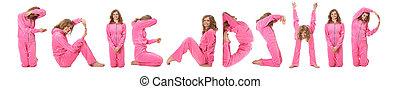 Una chica con ropa rosa que hace amistad, collage
