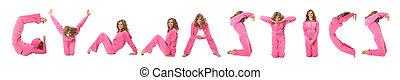 Una chica con ropa rosa que hace mentas, collage