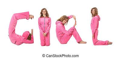 Una chica con ropa rosada haciendo la palabra chica, collage