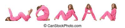 Una chica con ropa rosada haciendo palabra mujer, collage