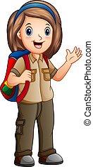 Una chica con traje de explorador con mochila
