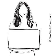 Una chica con un marco en la mano. Sketch