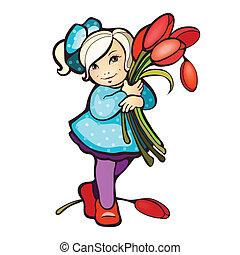 Una chica con un montón de tulipanes