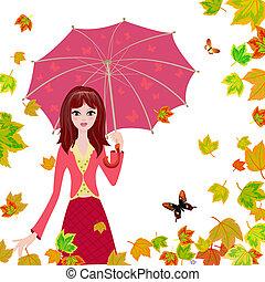 Una chica con un paraguas en las hojas de otoño
