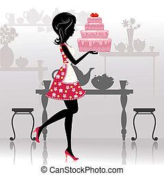 Una chica con un pastel romántico