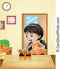 Una chica con un regalo en la mesa