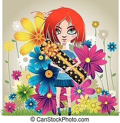 Una chica con un regalo y flores
