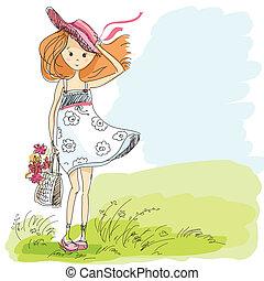 Una chica con un sombrero con bolso y flores