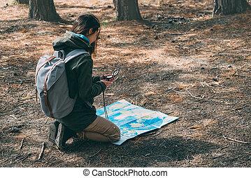 Una chica con una brújula y un mapa