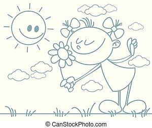 Una chica con una flor