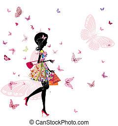 Una chica con una florería