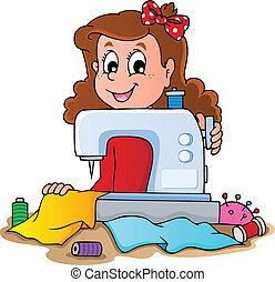Una chica con una máquina de coser