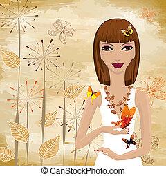 Una chica con una mariposa en el fondo, un papiro grunge