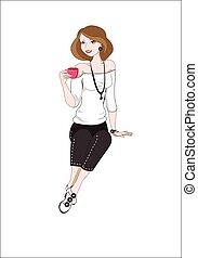 Una chica con una taza