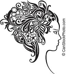 Una chica con unas flores preciosas en el pelo