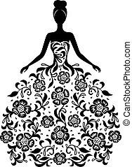 Una chica con vestido de adorno floral