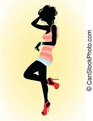 Una chica con zapatos rojos