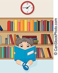 Una chica de dibujos animados leyendo un libro en la biblioteca
