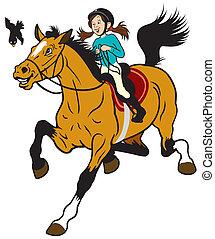 Una chica de dibujos animados montando a caballo