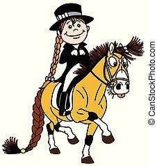 Una chica de dibujos animados montando poni. Vestido ecuestre
