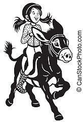 Una chica de dibujos animados montando un burro