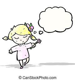 Una chica de dibujos con flores