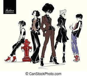Una chica de moda al estilo de bocetos de fondo colorido.