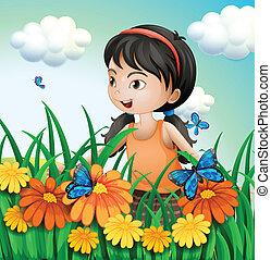 Una chica en el jardín con mariposas