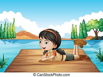 Una chica en el puerto