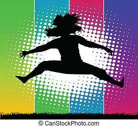 Una chica en primavera en un afiche de vectores de color