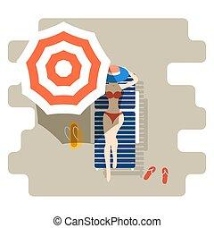 Una chica en un chaise-longue bajo sombrilla. Ilustración de verano para mujeres.