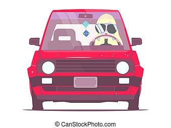 Una chica en un coche.