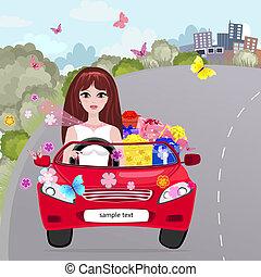 Una chica en un convertible rojo con regalos