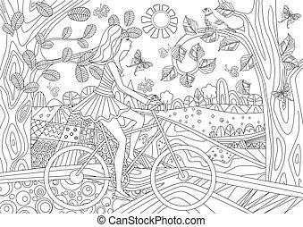 Una chica encantadora está montando en una bicicleta en un escenario forestal para tu co