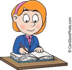 Una chica escribe ilustraciones de dibujos animados
