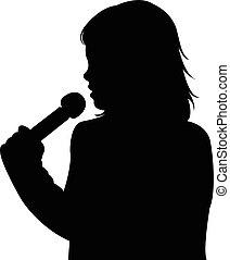 Una chica hablando con micrófono