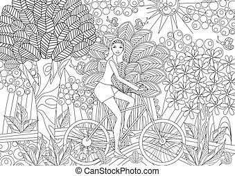 Una chica hermosa está montando en una bicicleta en un bosque de lujo para colori