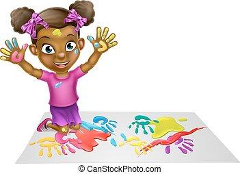 Una chica jugando con pintura