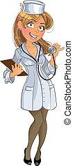 Una chica médica con un telescopio