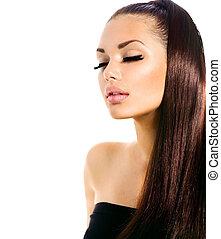 Una chica modelo de belleza con cabello largo y saludable