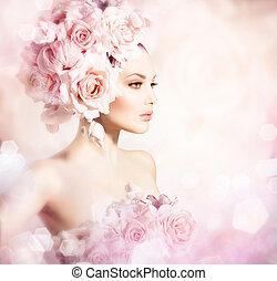 Una chica modelo de moda con pelo de flores. Novia
