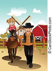 Una chica montando a caballo con el abuelo