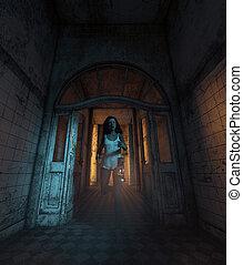 Una chica perdida en la casa embrujada